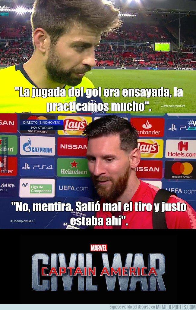 1057609 - Piqué y Messi dan sus versiones sobre la intencionalidad del segundo gol del Barcelona