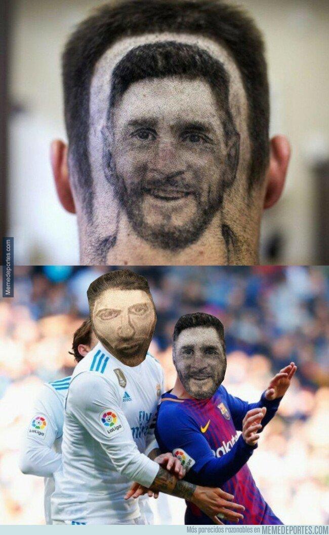 1059162 - Aparece un corte de pelo con la cara de Messi ¿Está a la altura del de Ramos?