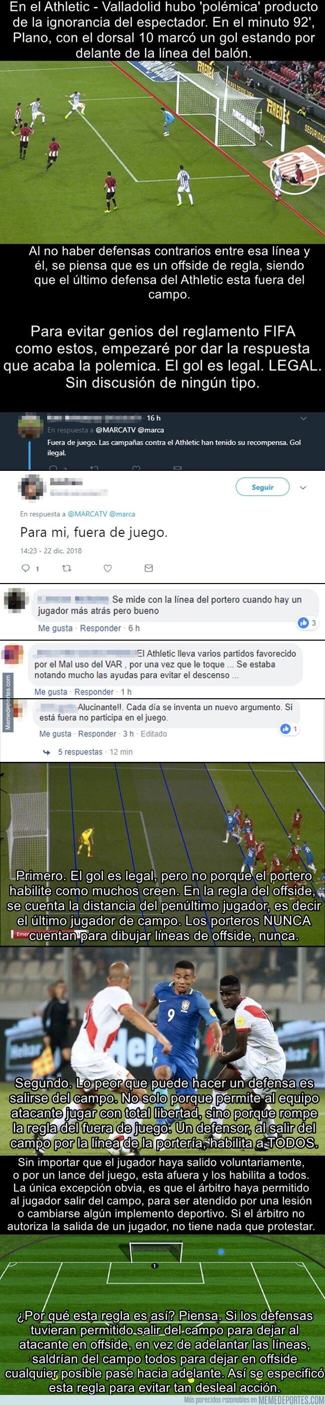 1059838 - Fin de la polémica del gol de Plano contra el Athletic y el triste analfabetismo de los aficionados