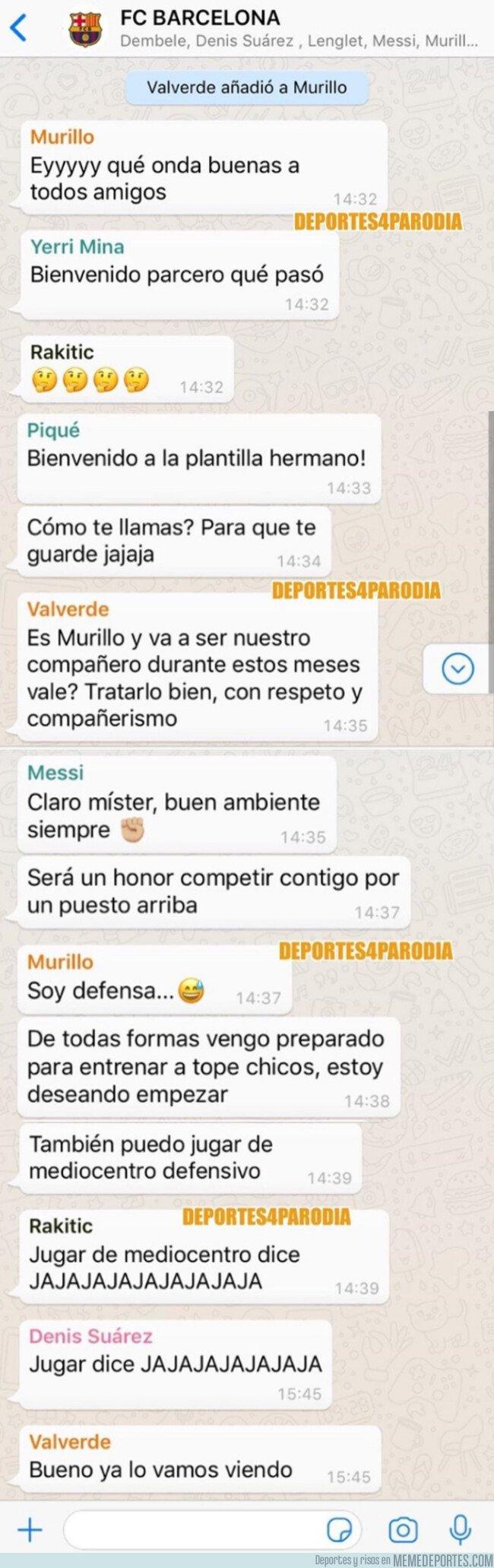 1060131 - Jeison Murillo es añadido al grupo de Whatsapp del Barça, por @deportes4parodia