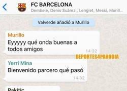 Enlace a Jeison Murillo es añadido al grupo de Whatsapp del Barça, por @deportes4parodia