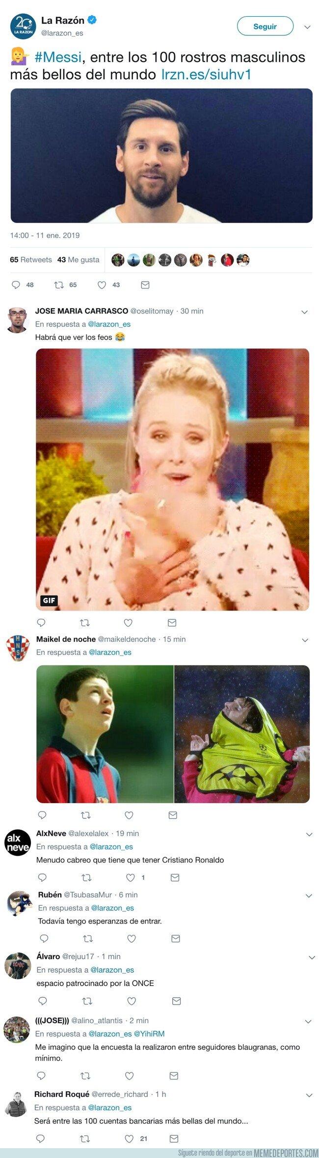 1061157 - Messi entra en la lista de los 100 más guapos del mundo y... como siempre, lo mejor, los comentarios