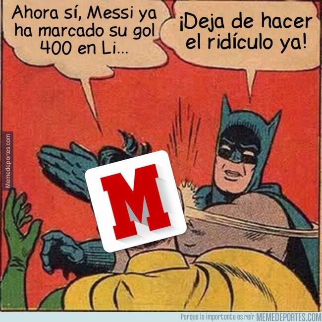 1062074 - Marca sale ahora a anunciar los 400 goles ligueros de Messi