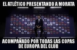 Enlace a Morata fue presentado rodeado de las Champions rojiblancas