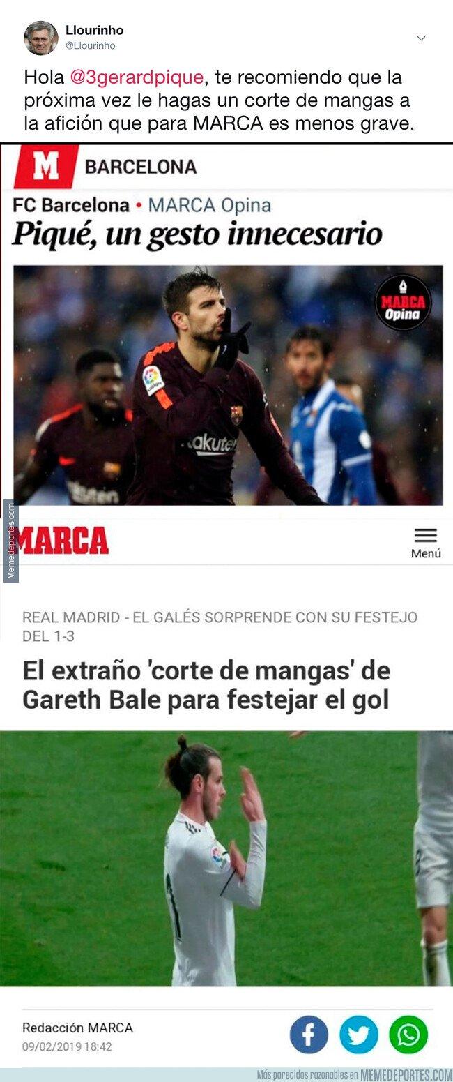 1064012 - El doble rasero de MARCA al denunciar a Piqué pidiendo 'silencio' y Bale haciendo un 'corte de mangas'