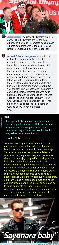 1064127 - La brillante respuesta de Schwarzenegger a un troll que se burló de los Special Olympics para disminuidos
