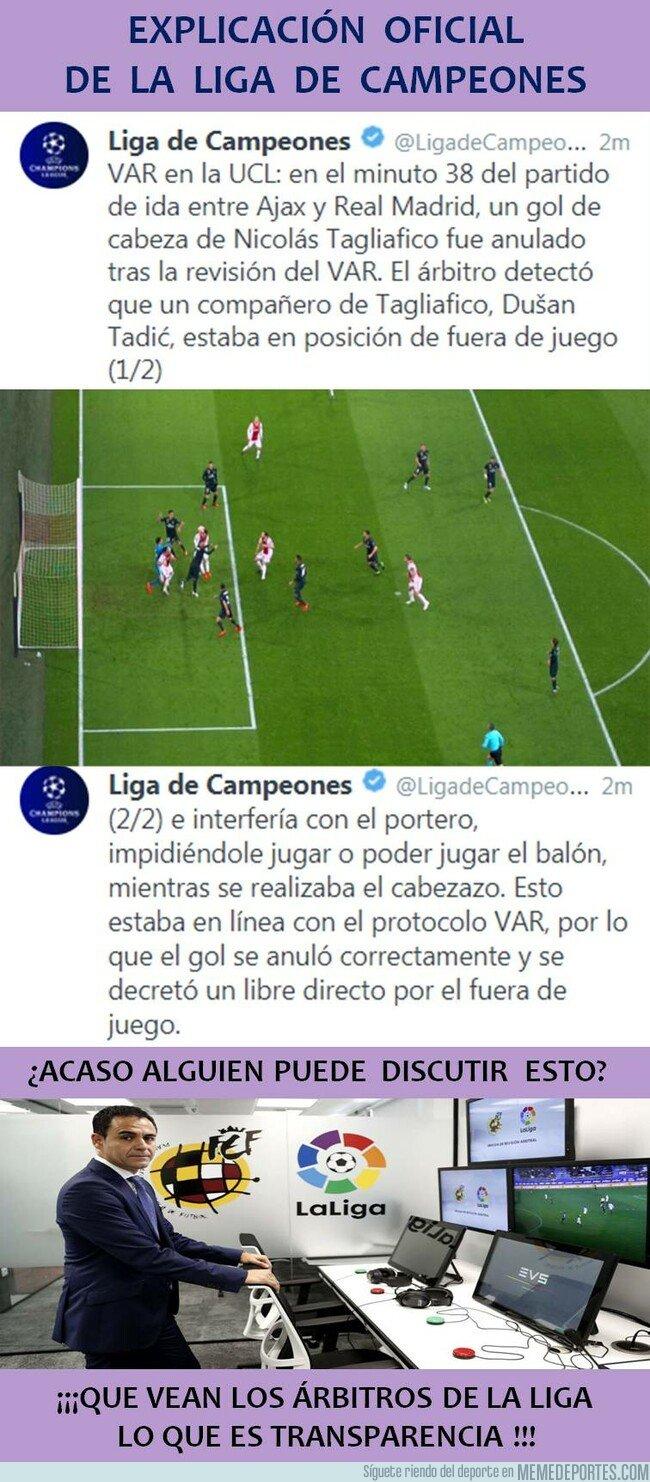 1064444 - La Champions League hace un hilo explicando la decisión del árbitro de anular el primer gol del Ajax ante el Real Madrid