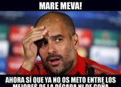 Enlace a Guardiola reaccionando a la eliminación del Madrid