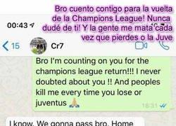 Enlace a La conversación de whatsapp entre Cristiano y Evra 5 días antes de la remontada demuestra que no hay nadie más ganador que Ronaldo