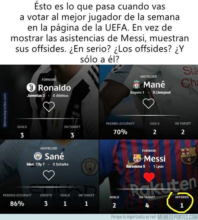 1068404 - Los extraños datos 'a favor' de Messi que usa la página de la UEFA para elegir al mejor jugador de la semana