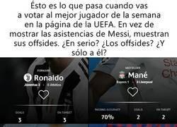 Enlace a Los extraños datos 'a favor' de Messi que usa la página de la UEFA para elegir al mejor jugador de la semana
