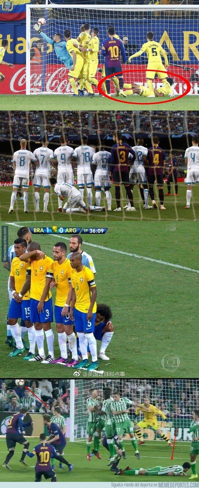 1070189 - El recopilatorio de todos los soldados caídos en las barreras de las faltas que lanzará Messi pensando que es buena idea. Vía @llourinho