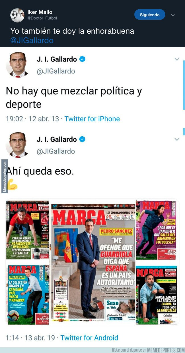 1071371 - Retratada monumental al director del Diario MARCA tras las portadas a los principales líderes políticos de España