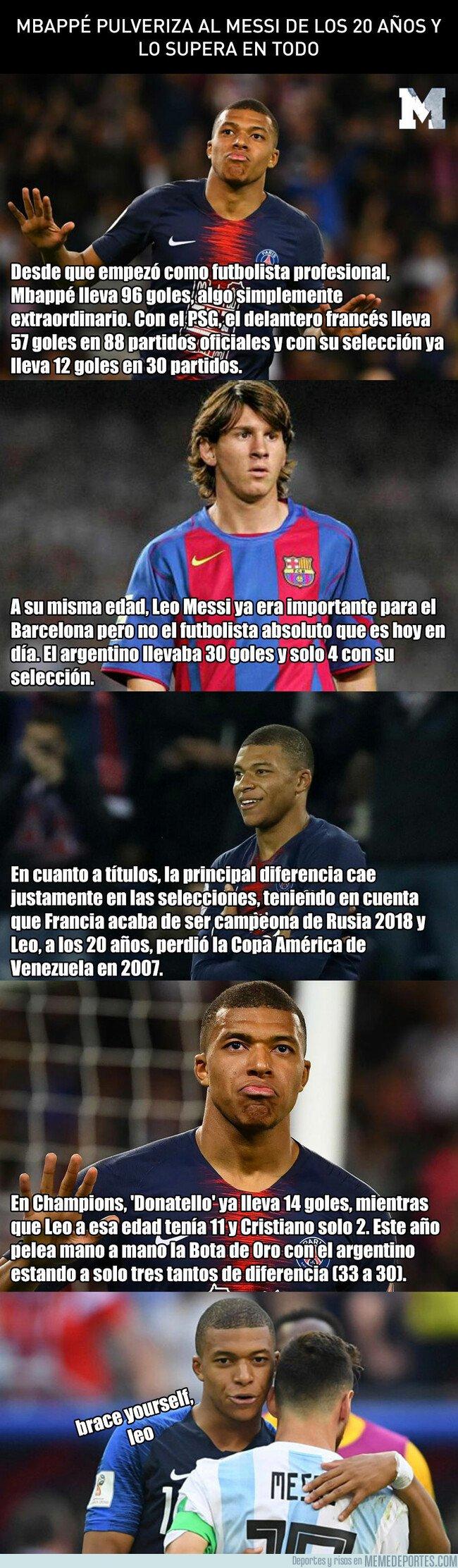 1072634 - Mbappé pulveriza al Messi de los 20 años con unos registros de locos
