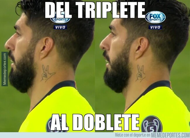 1073955 - Del triplete al doblete, explicado en tatuajes de Luis Suárez