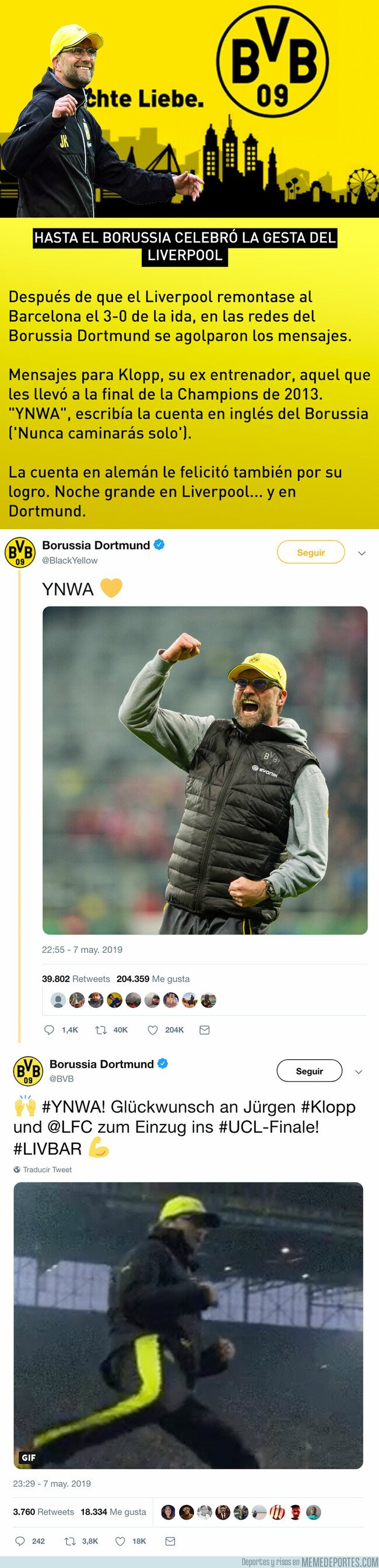 1074167 - Hasta el Borussia celebró la gesta del Liverpool