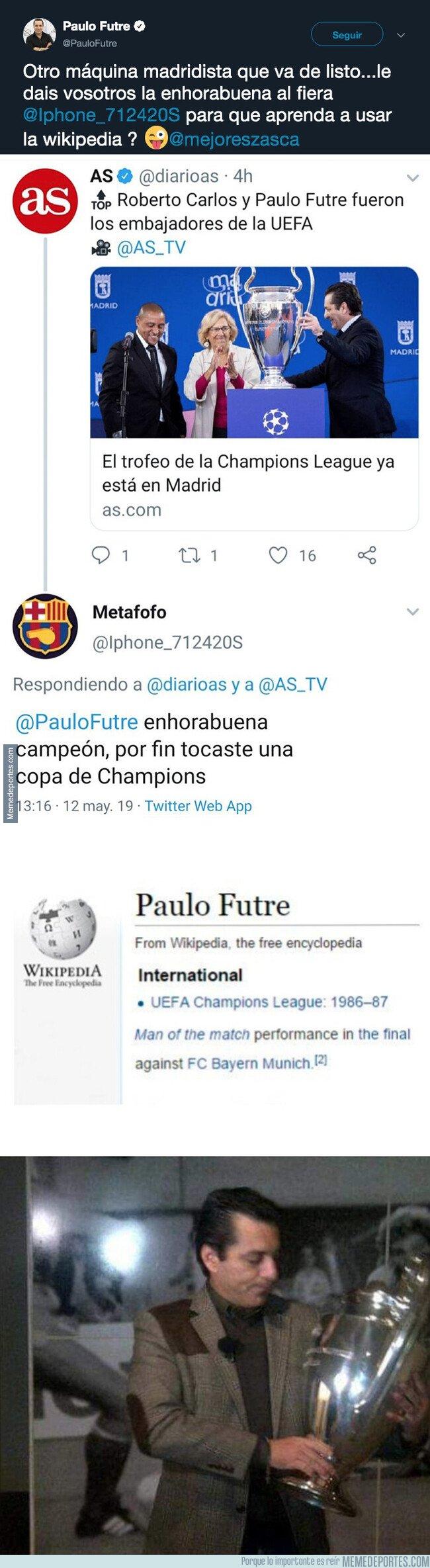 1074880 - Un madridista intenta pasarse de listo con Futre al decir que no ha tocado nunca una Champions y se lleva un gran revés