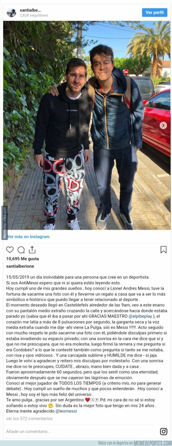1075270 - La carta de un aficionado argentino que se ha hecho viral tras conocer a Leo Messi. Se lo encontró en Castelfedefells y se hizo una foto con él, lo que derivó en una carta del hincha