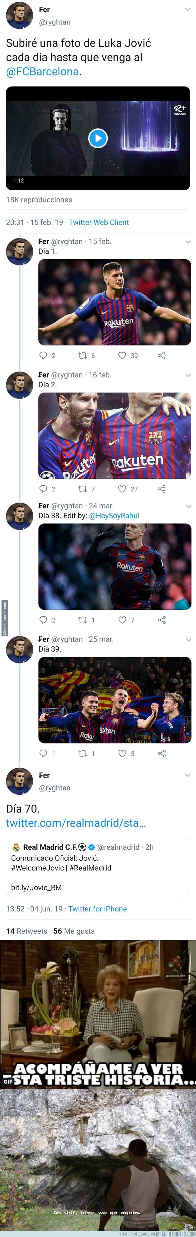 1077192 - Iba a subir una foto de Jovic hasta que fichase por el Barça y el final no pudo ser más dramático...