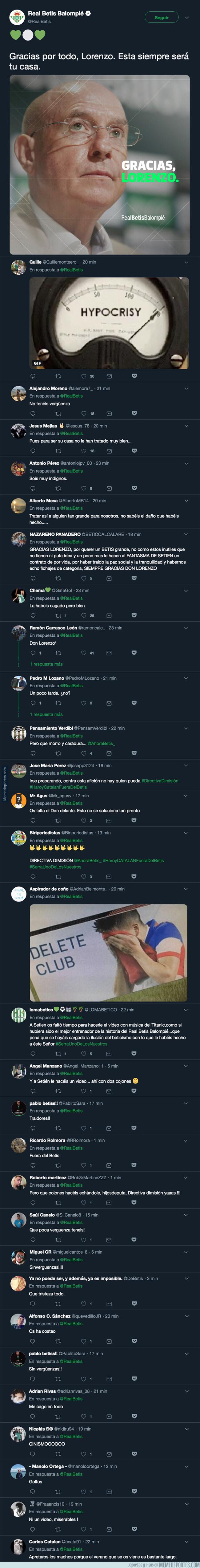 1077829 - El Real Betis le da las gracias a Serra Ferrer tras echarlo del equipo y todos los aficionados responden con dureza