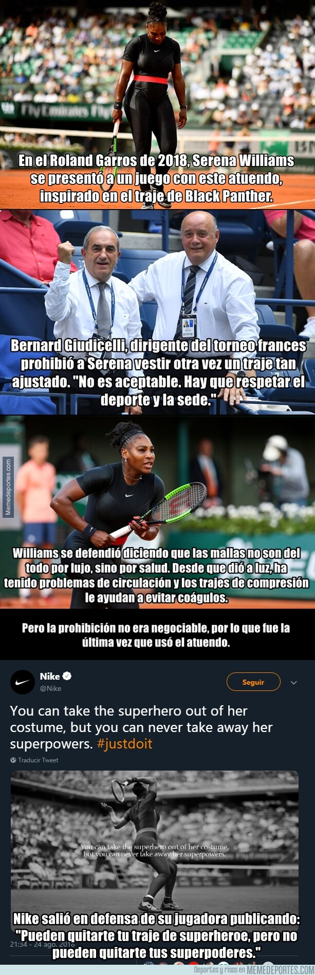 1079322 - El traje que prohibió usar el Roland Garros a las mujeres por ser 'irrespetuoso'