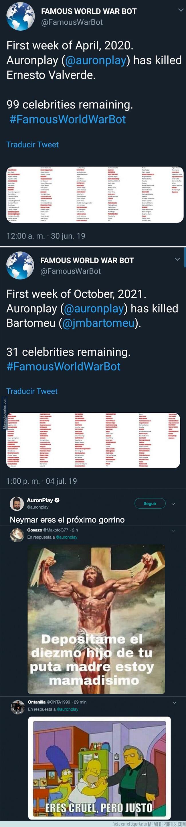 1080129 - Auronplay ha asesinado a Bartomeu y Valverde en este famoso juego de Twitter y ya tiene nueva víctima entre ceja y ceja