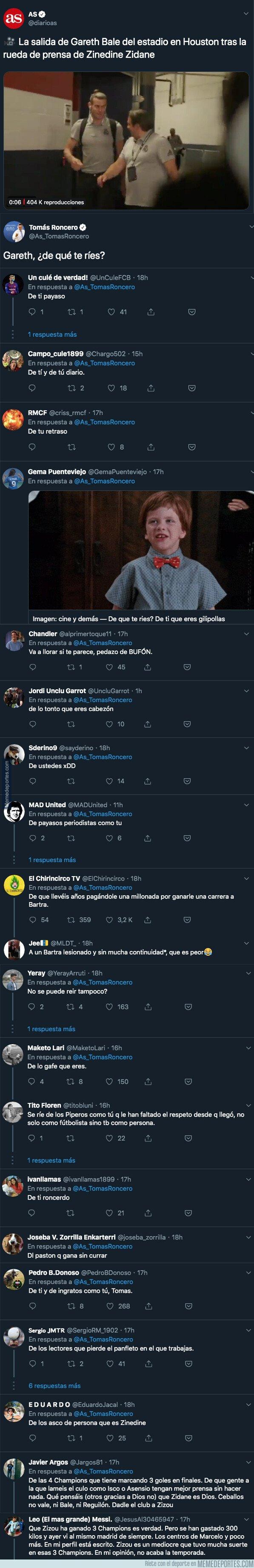 1081706 - Tomás Roncero se pregunta de qué se ríe Bale tras perder frente al Bayern y todo Twitter responde con crueldad