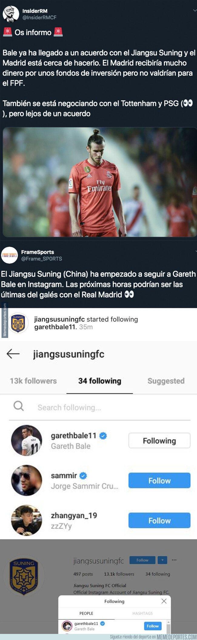 1081713 - Ya se sabe en qué equipo chino jugará Bale por el último follower que tiene en Instagram