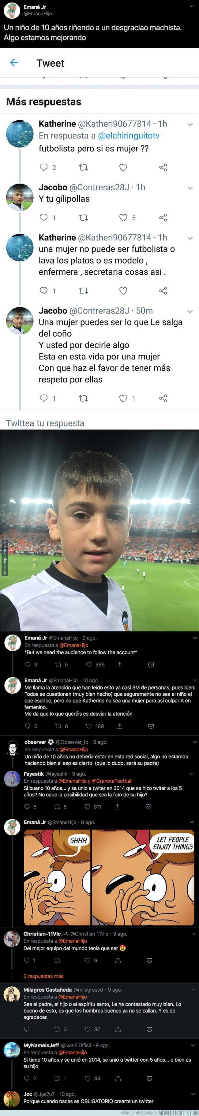 1083427 - Un aficionado de 10 años del Valencia deja por los suelos a un machista repugnante con una respuesta sublime