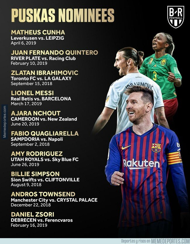 1083761 - Los nominados al premio Puskas a mejor gol del año 2018/19