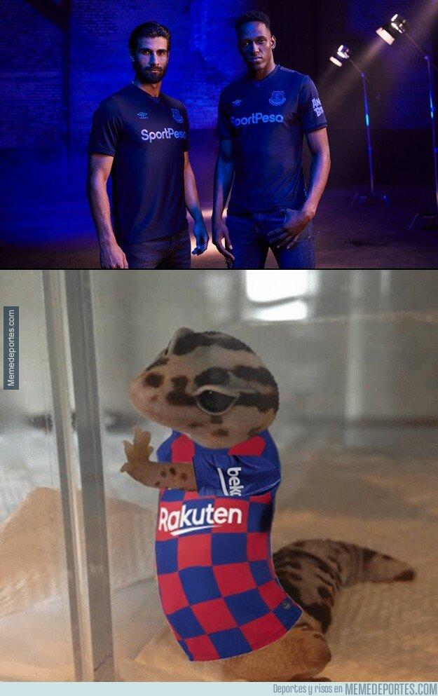 1084086 - El Everton usó a Gomes y a Mina para promocionar su nueva camiseta y no fue casualidad