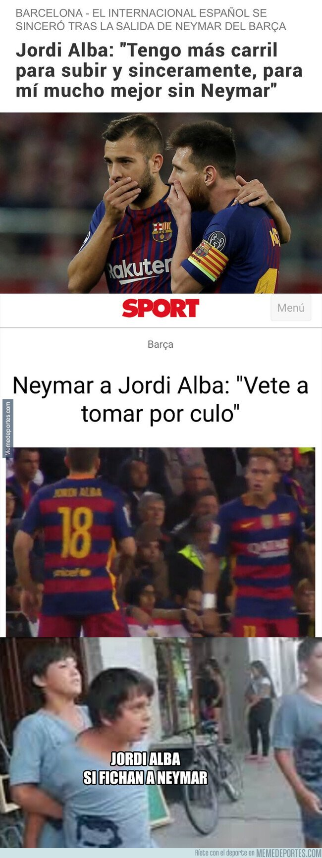 1084309 - La frase que Jordi Alba soltó sobre Neymar y viceversa que deja claro que se llevarán a matar si el brasileño vuelve al Barça