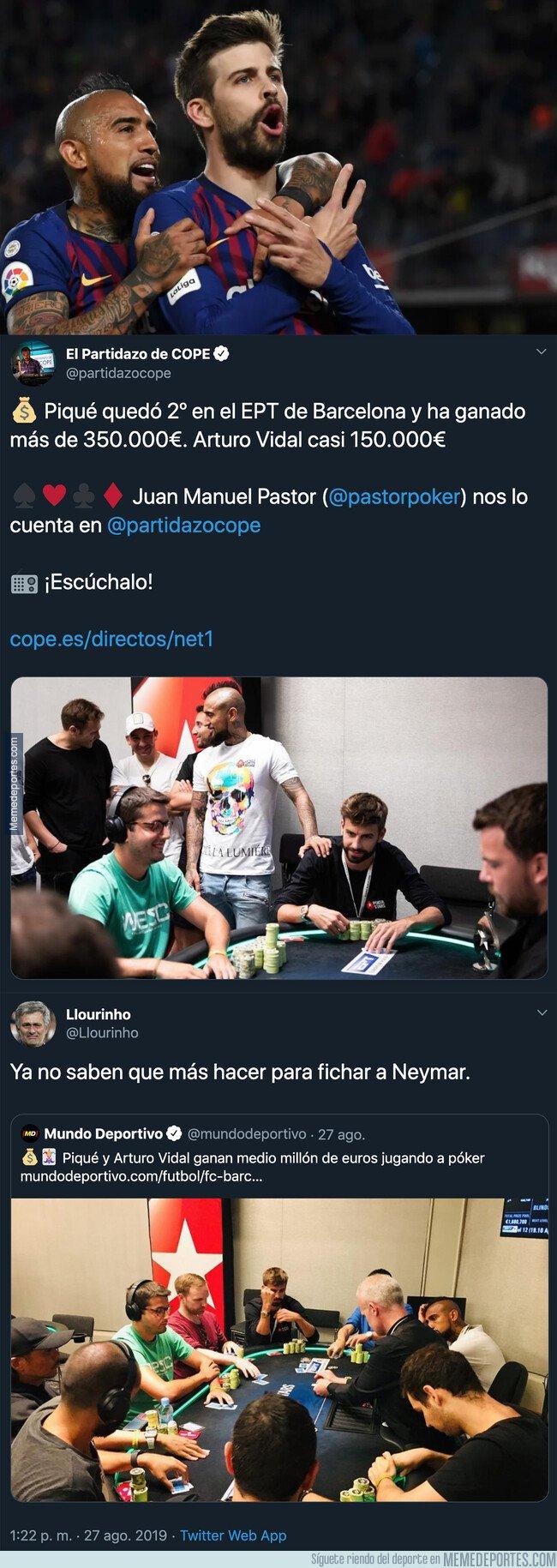 1084386 - La tremenda cantidad de dinero que han ganado Piqué y Arturo Vidal en un torneo de póker