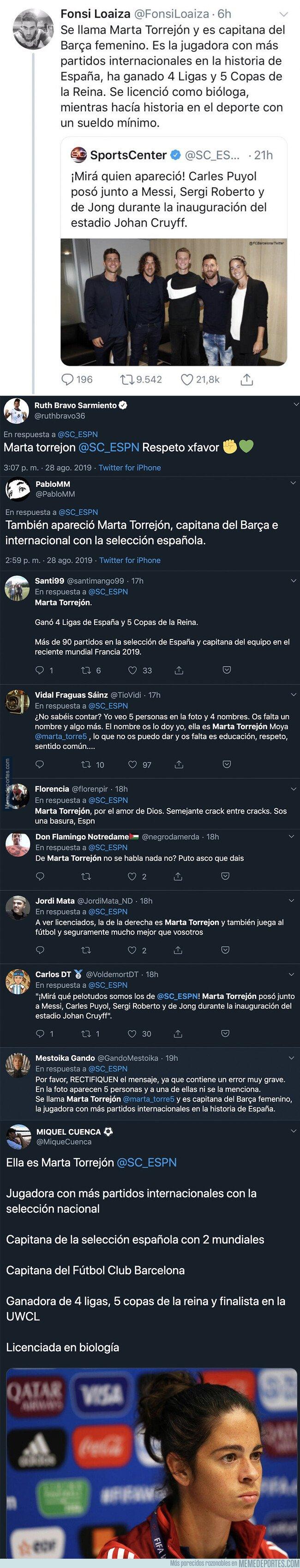 1084444 - Todo Twitter está contra ESPN por publicar esta imagen de varios futbolistas y sin mencionar a la gran Marta Torrejón