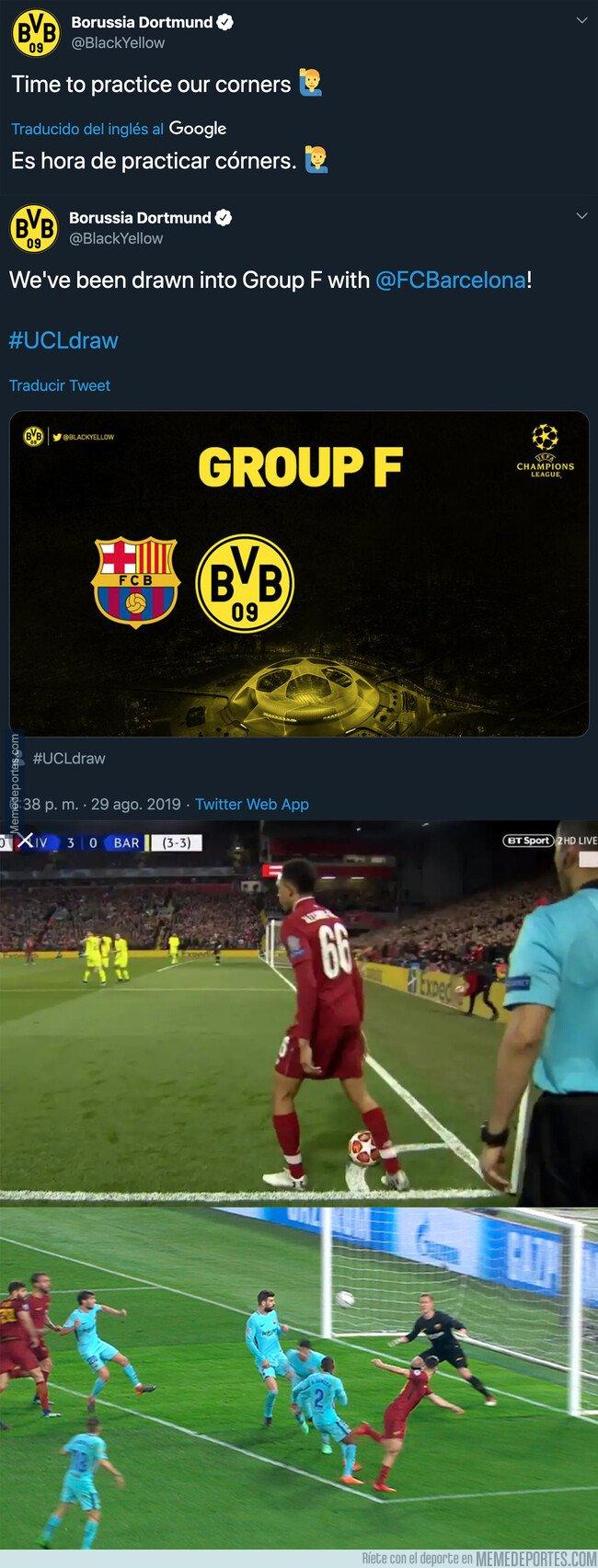 1084500 - El ZASCA antológico que le ha pegado el BVB al Barça tras enterarse que se enfrentarán en Champions