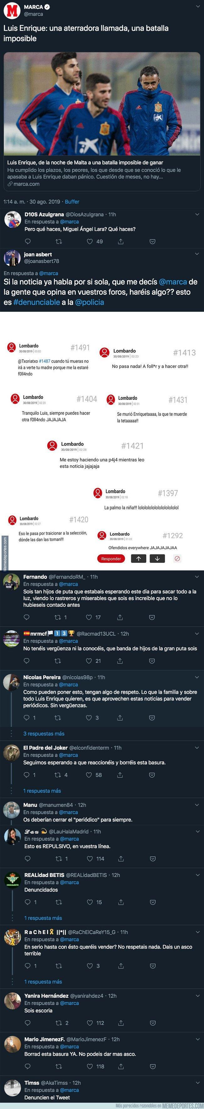 1084550 - El repugnante artículo de MARCA sobre Luis Enrique que está llenando de insultos su foro y de indignación a la gente