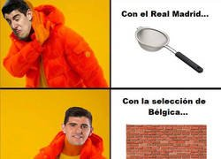 Enlace a Diferencias de Courtois cuando juega con el Real Madrid y cuando juega con su selección...