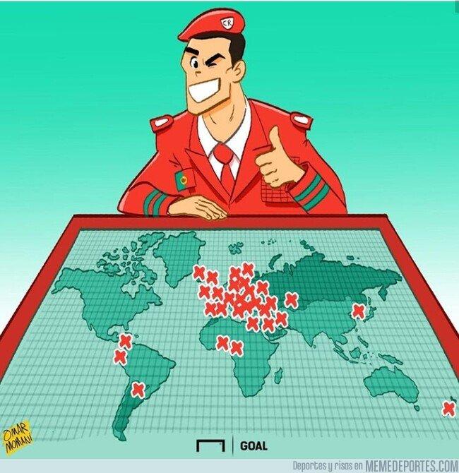 1085561 - Cristiano ya ha anotado frente a 40 países diferentes, por @goalglobal