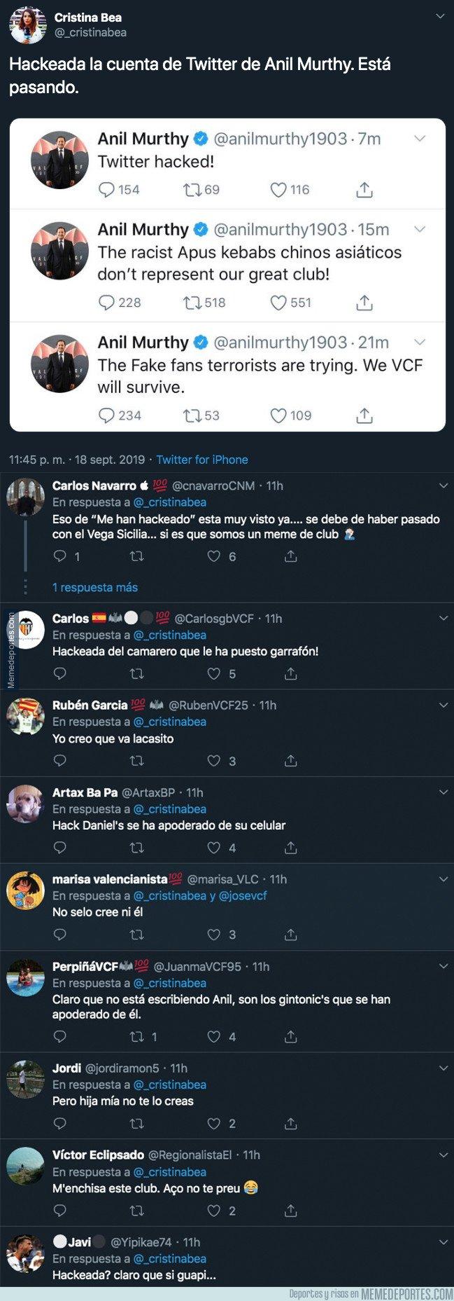 1086203 - Gran polémica por los mensajes que escribió Anil Murthy, presidente del Valencia, en su Twitter