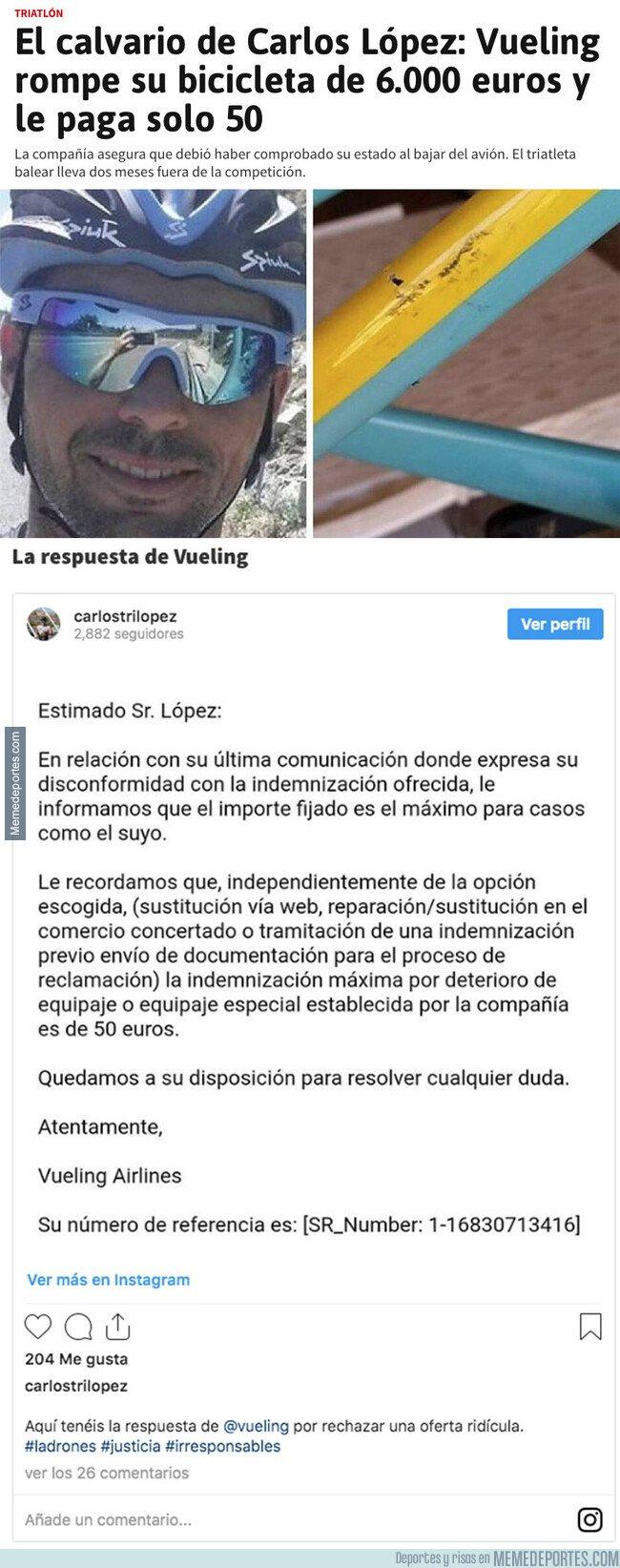 1086223 - Vueling le rompe la bicicleta a Carlos López y esto es la indignante cifra que le ha pagado de compensación