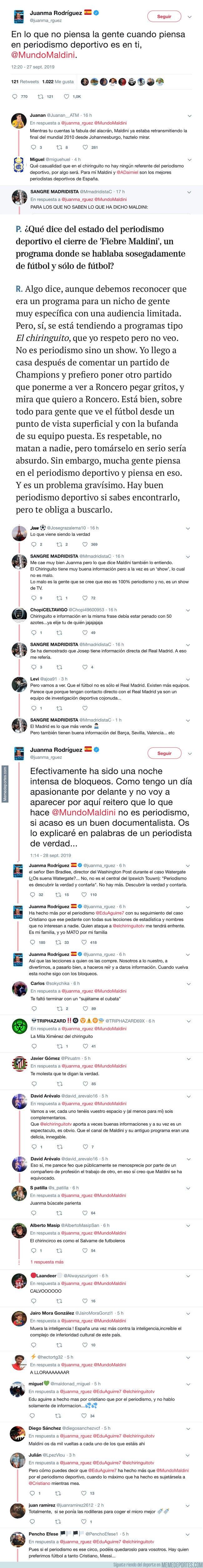 1087004 - Juanma Rodríguez ataca duramente a Julio Maldini por su periodismo y Twitter le responde con mucha más dureza