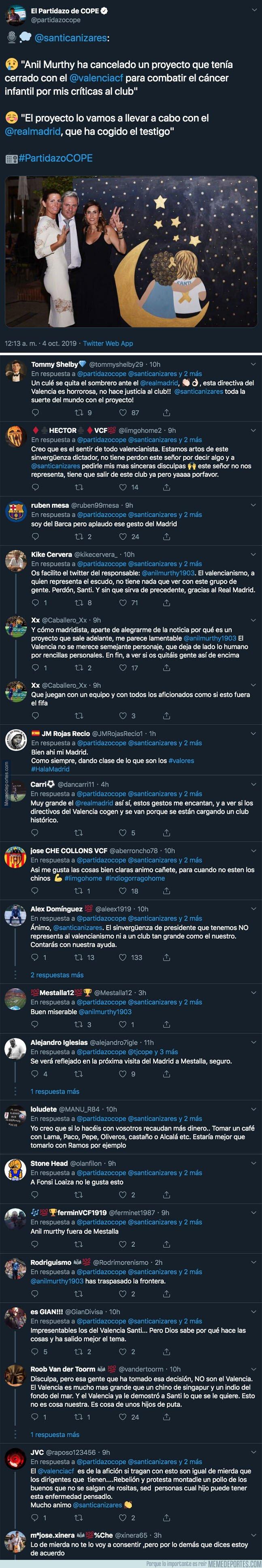 1087563 - Todos el mundo está cargando contra el presidente del Valencia por este horroroso acto contra Cañizares y el cáncer infantil