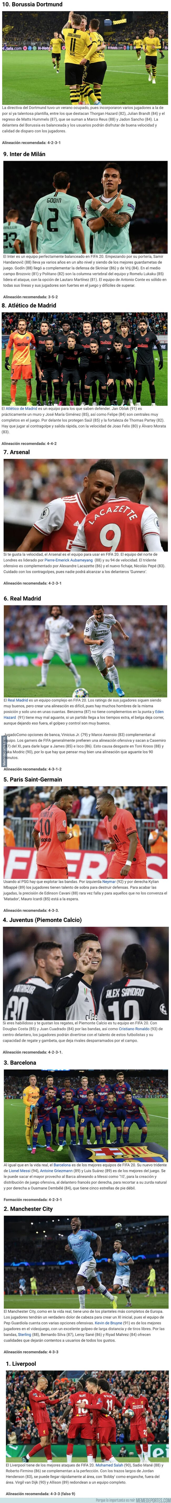 1087569 - Los 10 mejores equipos con los que puedes jugar en el FIFA 20