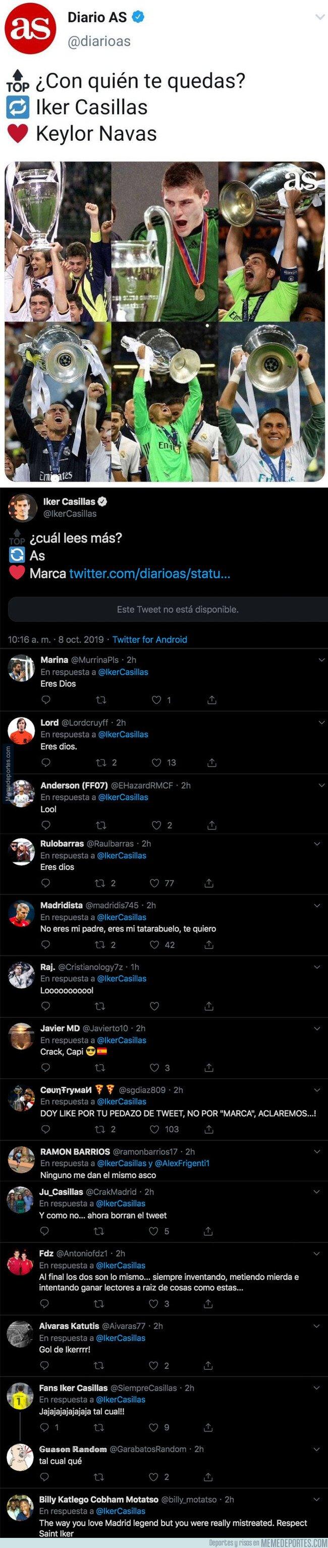 1087949 - El diario 'AS' hace una pregunta sobre Casillas y Keylor Navas y reciben un revés monumental de Iker por el que tienen que borrar el tuit