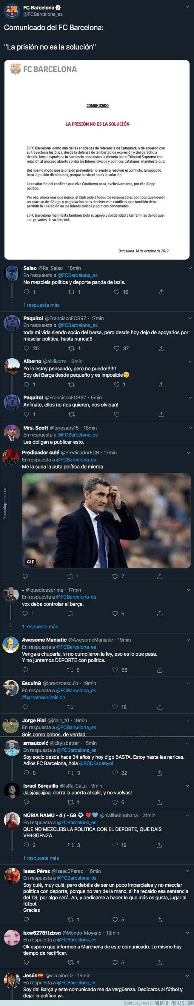 1088403 - El Barça lanza un mensaje mezclando política y fútbol sobre la sentencia del Procés y le están llegando respuestas demoledoras
