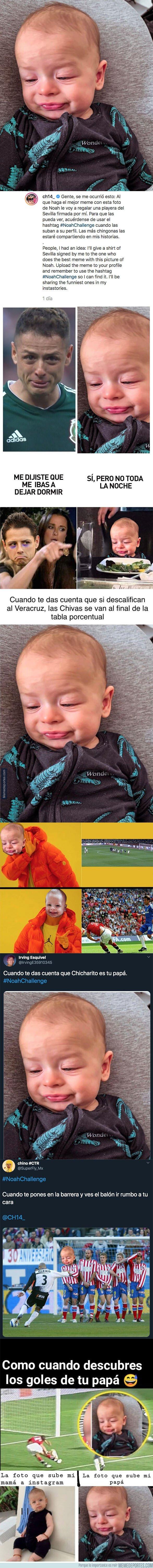 1088705 - Chicharito lanzó el reto #NoahChallenge que consiste en hacer el mejor 'meme' con una curiosa fotografía de su hijo y el ganador tendrá este premio