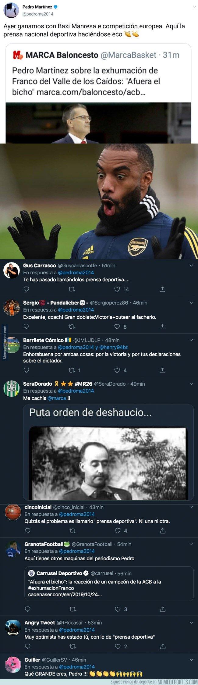 1089177 - Tremendo zasca de Pedro Martínez, entrenador del Baxi Manresa, al diario Marca con la exhumación de Franco de por medio