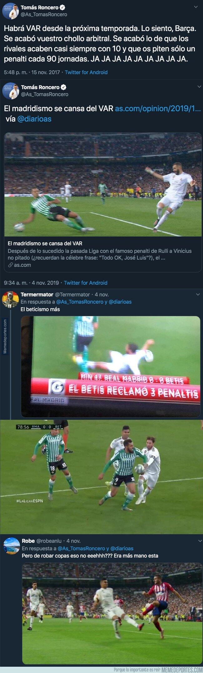 1090237 - Los tuits del pasado que dejan retratado por completo a Tomás Roncero por el uso del VAR