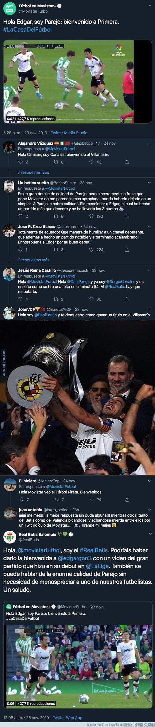 1091983 - La gran respuesta del Real Betis a Movistar+ tras poner este tuit sobre un caño de Parejo a un jugador bético