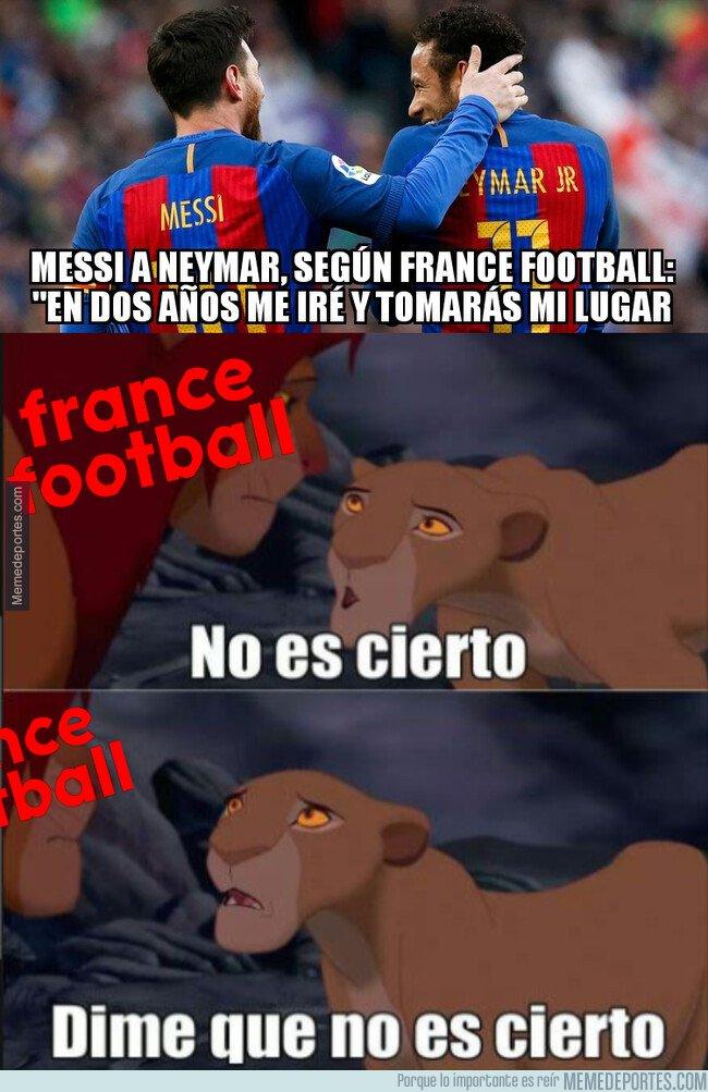 1092023 - 'France Football' desvela una conversación entre Messi y Neymar cuanto tiempo le queda al argentino en el Barça